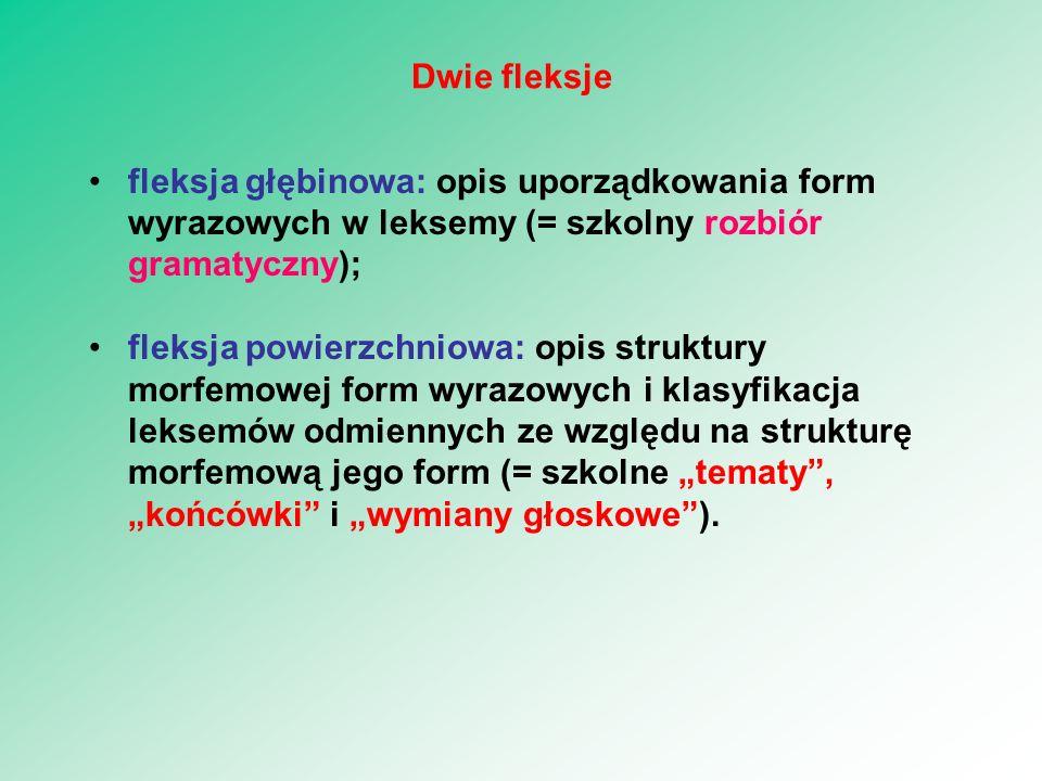 Dwie fleksje fleksja głębinowa: opis uporządkowania form wyrazowych w leksemy (= szkolny rozbiór gramatyczny);