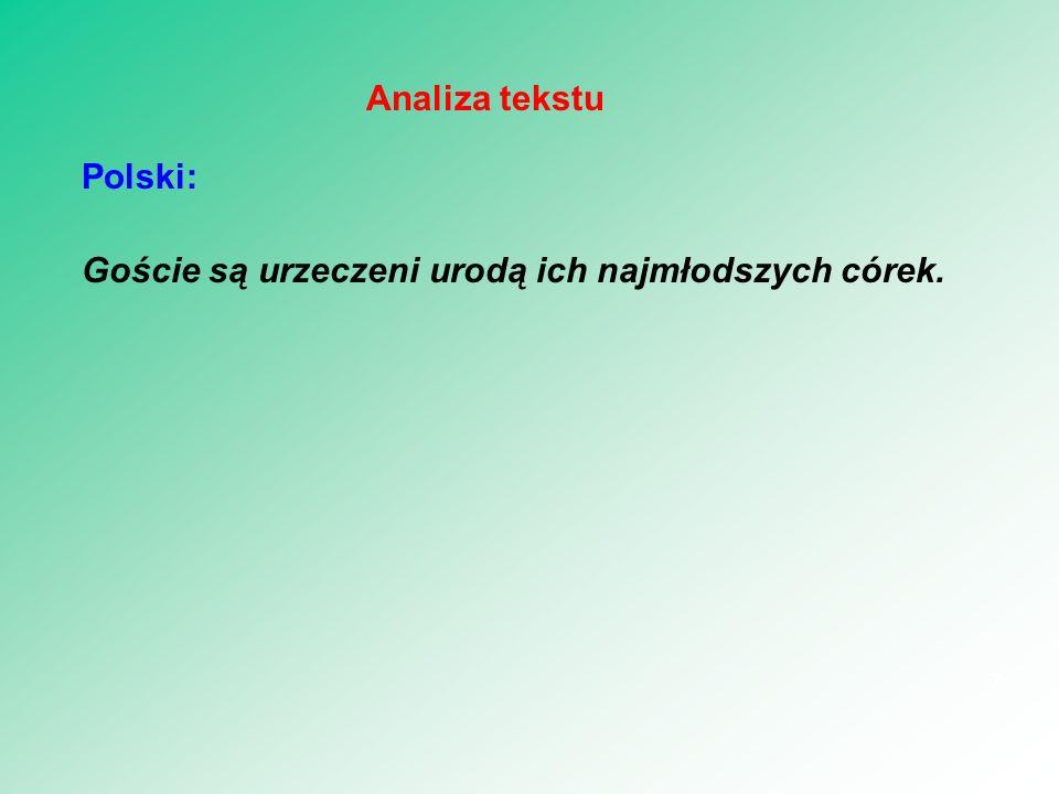 Analiza tekstu Polski: Goście są urzeczeni urodą ich najmłodszych córek.