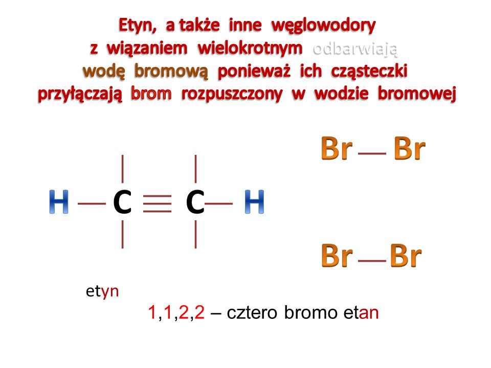 Br Br H C C H Br Br Etyn, a także inne węglowodory