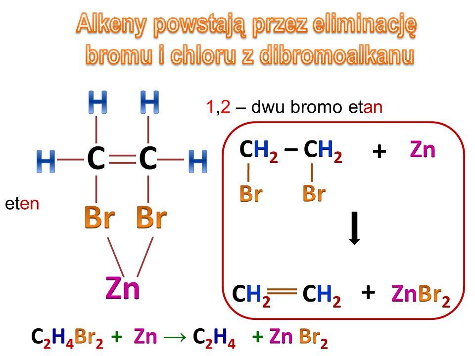 Alkeny powstają przez eliminację bromu i chloru z dibromoalkanu