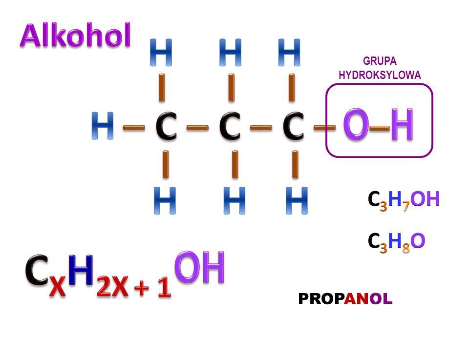 CXH2X + 1 H I I I H – C – C – C – O–H I I I H OH Alkohol C3H7OH C3H8O