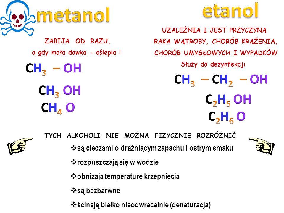 etanol metanol CH3 – OH CH3 – CH2 – OH CH3 OH CH4 O C2H5 OH C2H6 O