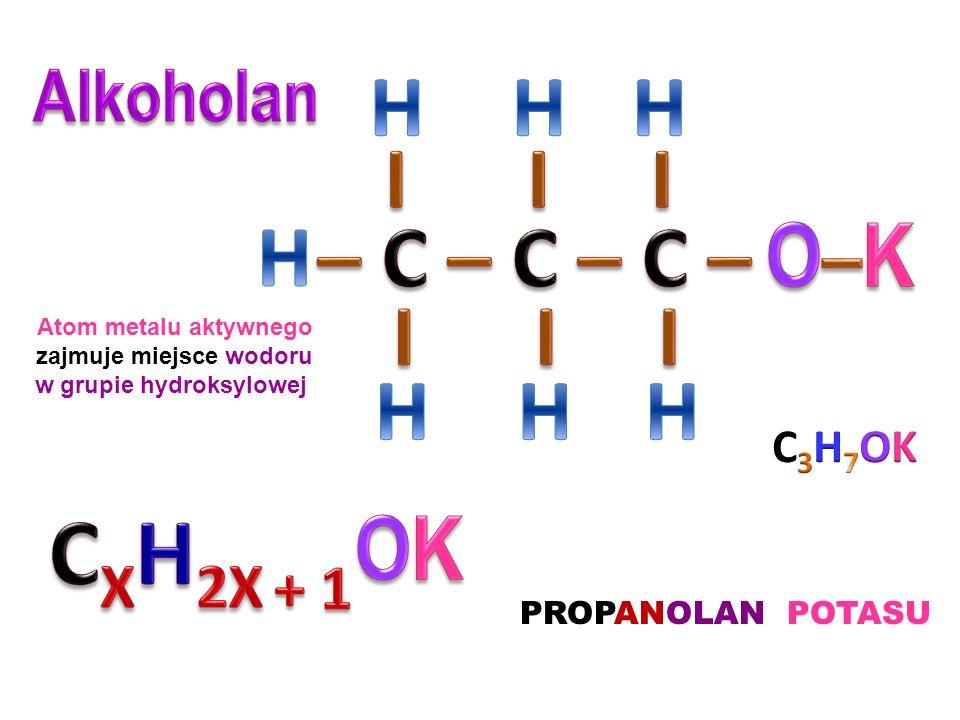 zajmuje miejsce wodoru w grupie hydroksylowej
