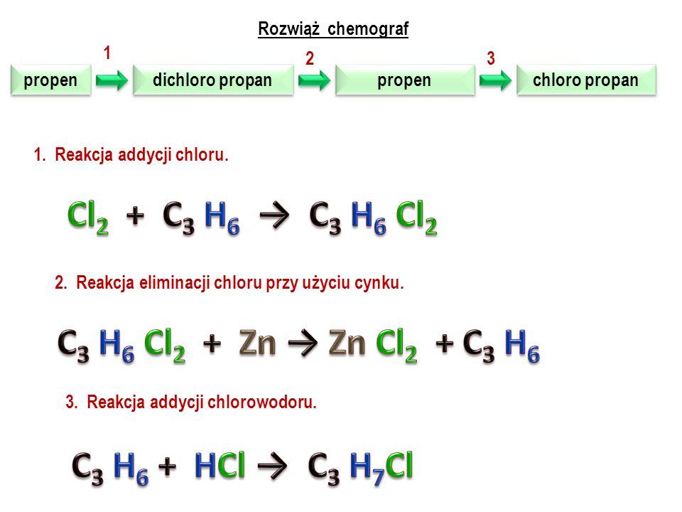 Cl2 + C3 H6 → C3 H6 Cl2 C3 H6 Cl2 + Zn → Zn Cl2 + C3 H6