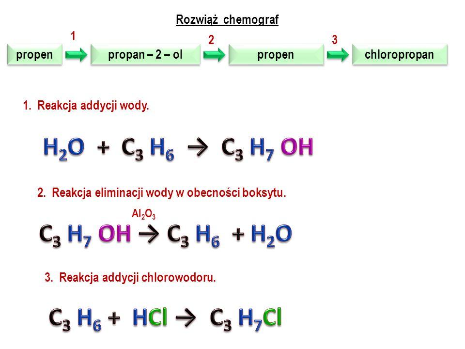 H2O + C3 H6 → C3 H7 OH C3 H7 OH → C3 H6 + H2O C3 H6 + HCl → C3 H7Cl