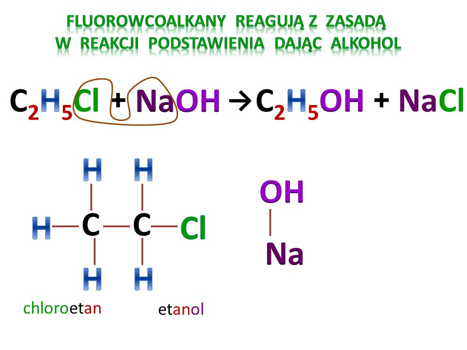 fluorowcoALKANY reagują Z zasadą W reakcji podstawienia Dając ALKOHOL