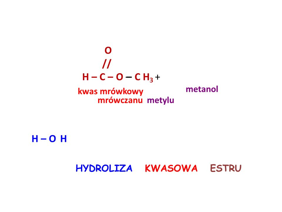 O // H – C – O – – C H3 + H – O H metanol kwas mrówkowy