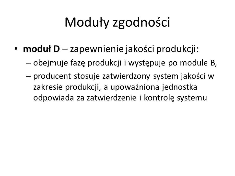 Moduły zgodności moduł D – zapewnienie jakości produkcji: