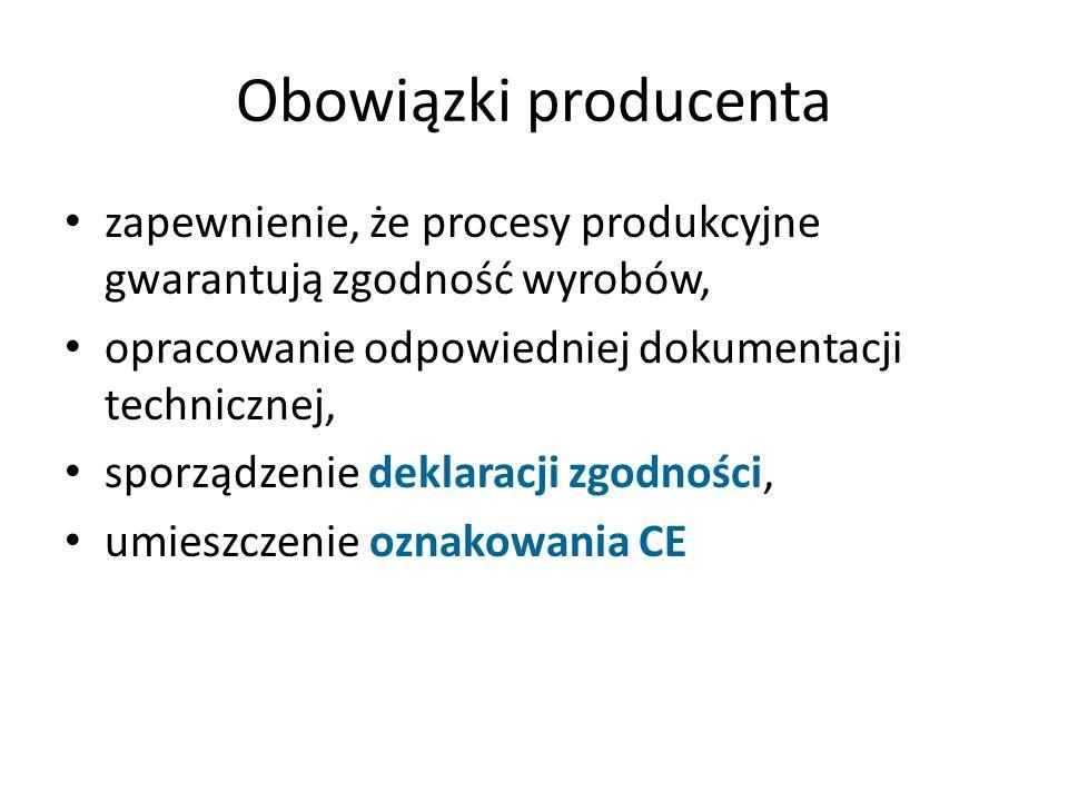 Obowiązki producenta zapewnienie, że procesy produkcyjne gwarantują zgodność wyrobów, opracowanie odpowiedniej dokumentacji technicznej,