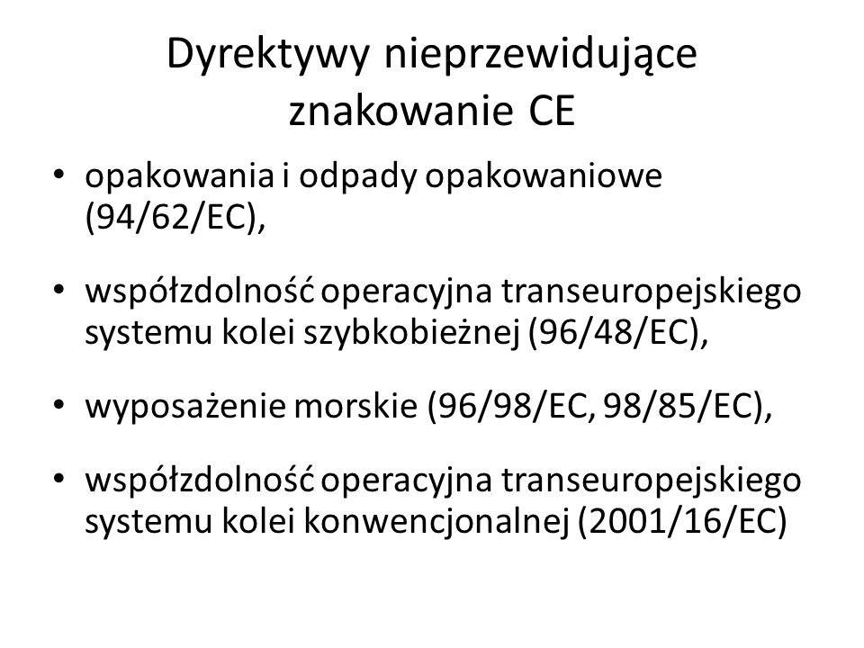 Dyrektywy nieprzewidujące znakowanie CE