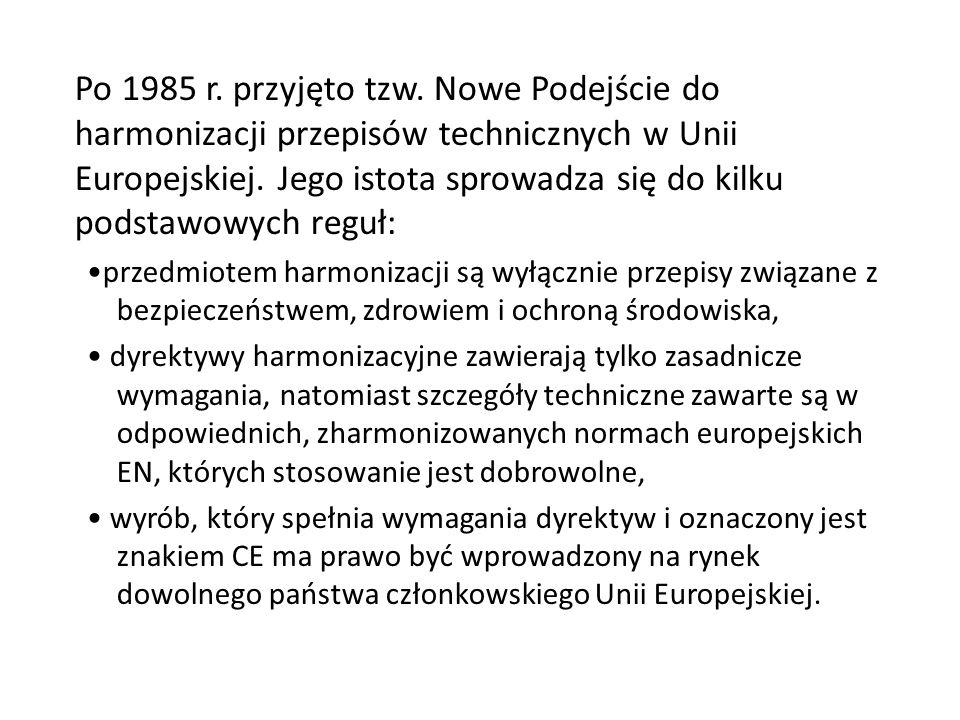 Po 1985 r. przyjęto tzw. Nowe Podejście do harmonizacji przepisów technicznych w Unii Europejskiej. Jego istota sprowadza się do kilku podstawowych reguł: