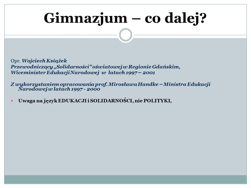 Gimnazjum – co dalej Opr. Wojciech Książek