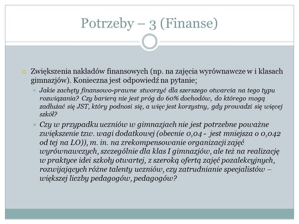 Potrzeby – 3 (Finanse) Zwiększenia nakładów finansowych (np. na zajęcia wyrównawcze w i klasach gimnazjów). Konieczna jest odpowiedź na pytanie;