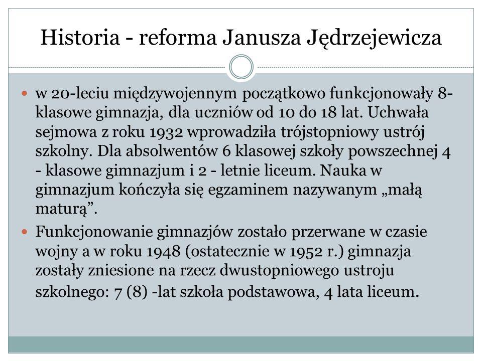 Historia - reforma Janusza Jędrzejewicza