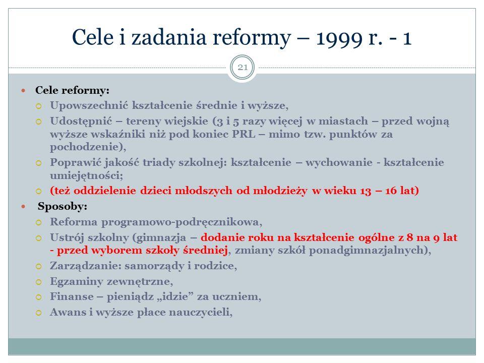 Cele i zadania reformy – 1999 r. - 1