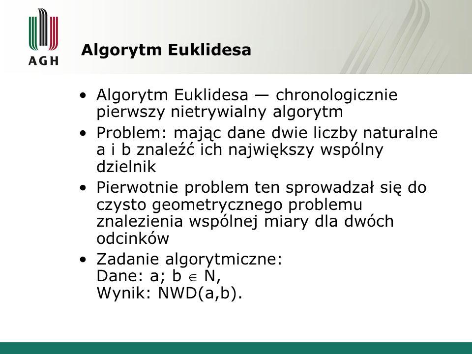 Algorytm Euklidesa Algorytm Euklidesa — chronologicznie pierwszy nietrywialny algorytm.