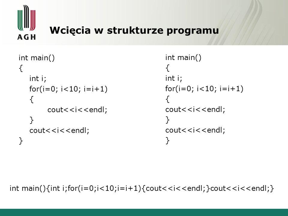 Wcięcia w strukturze programu