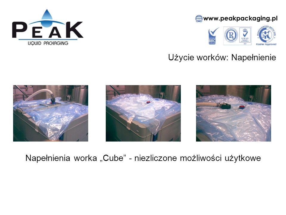 """Użycie worków: Napełnienie Napełnienia worka """"Cube - niezliczone możliwości użytkowe"""