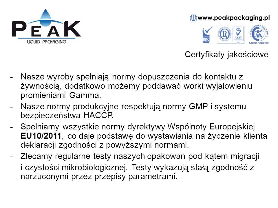 Certyfikaty jakościowe