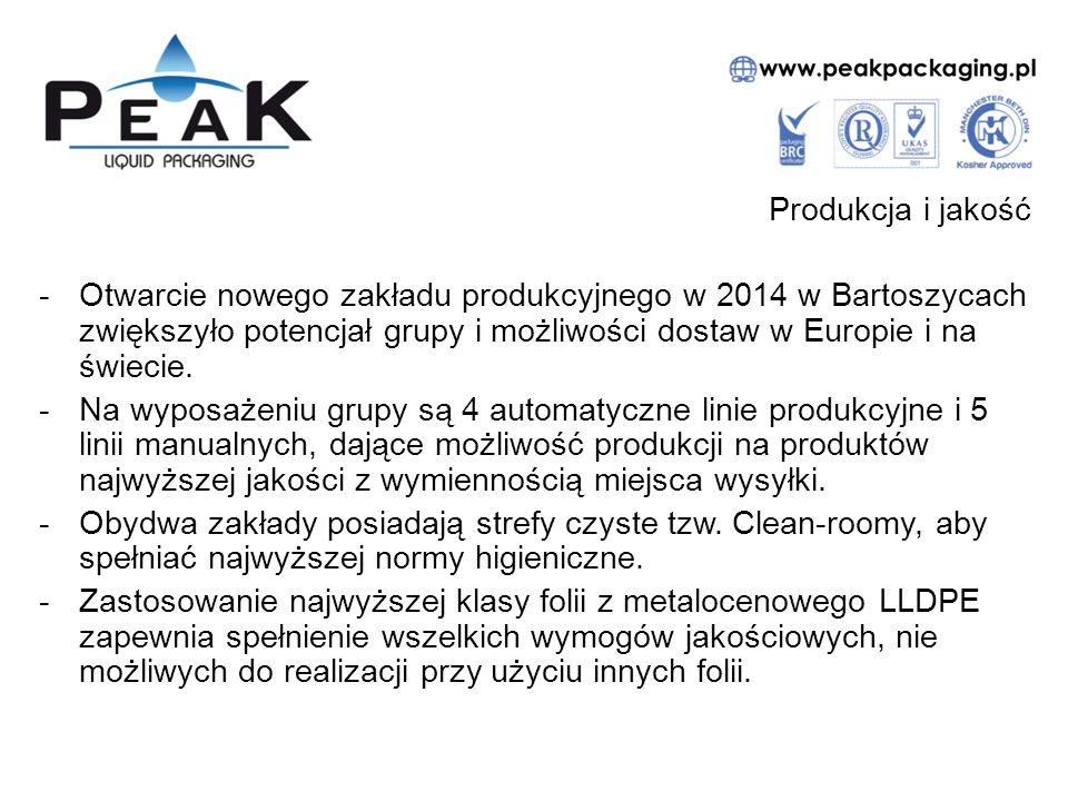 Produkcja i jakość Otwarcie nowego zakładu produkcyjnego w 2014 w Bartoszycach zwiększyło potencjał grupy i możliwości dostaw w Europie i na świecie.
