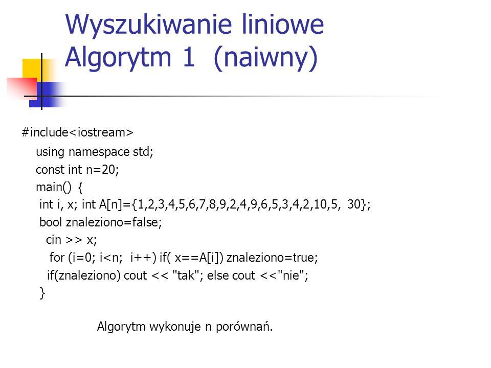 Wyszukiwanie liniowe Algorytm 1 (naiwny)