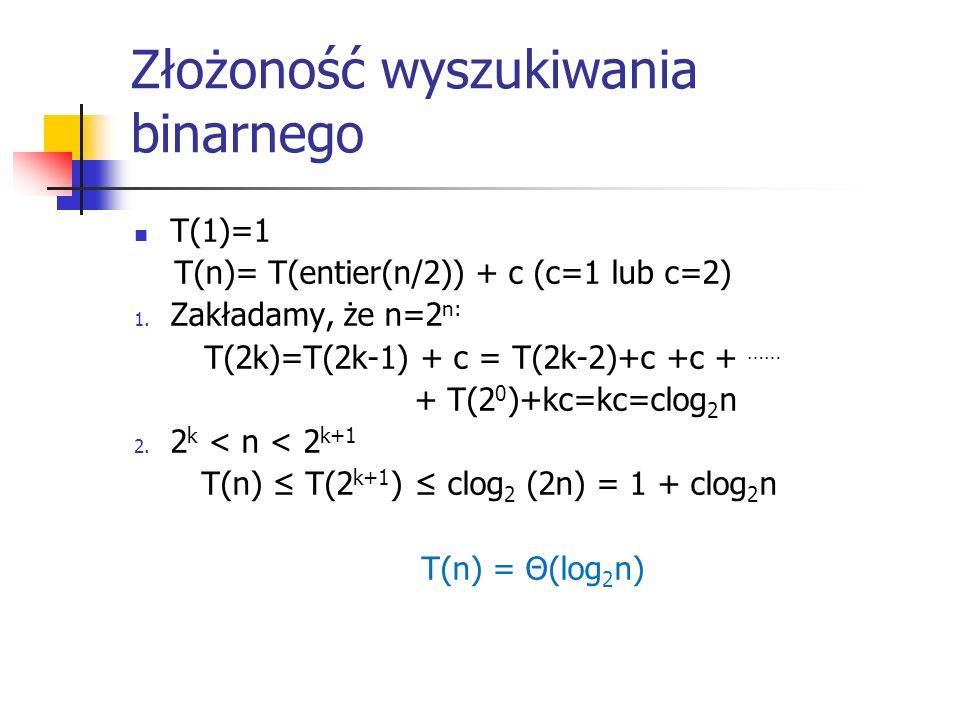 Złożoność wyszukiwania binarnego