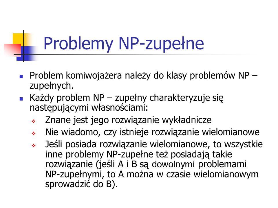 Problemy NP-zupełne Problem komiwojażera należy do klasy problemów NP –zupełnych.