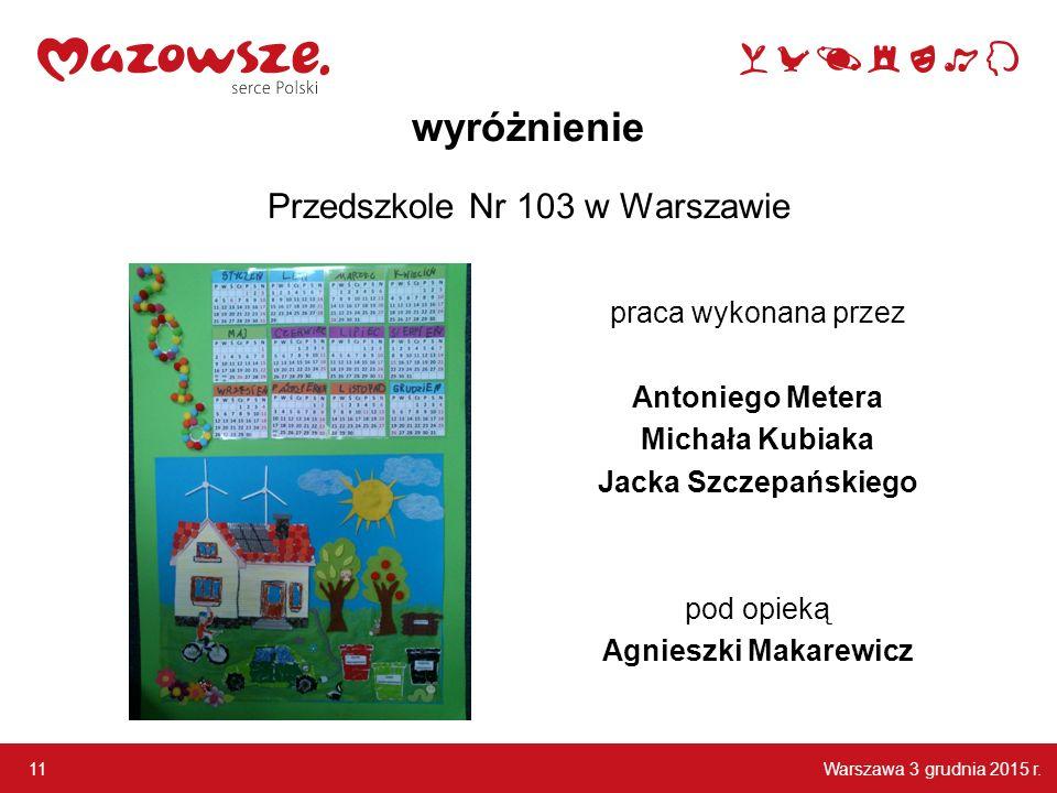 wyróżnienie Przedszkole Nr 103 w Warszawie