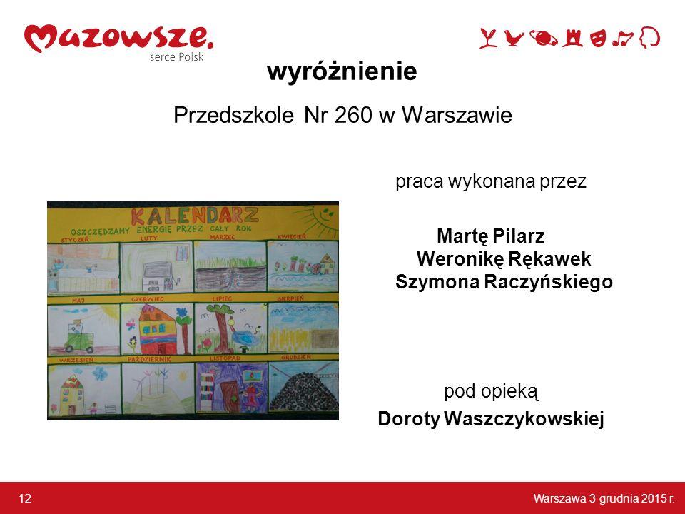 wyróżnienie Przedszkole Nr 260 w Warszawie