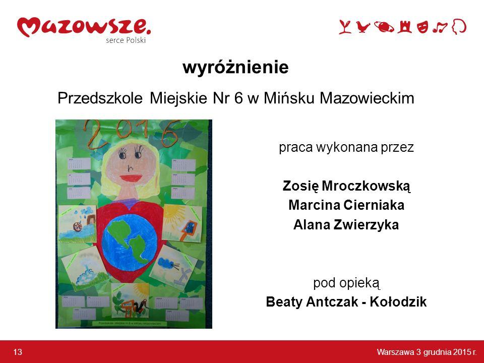wyróżnienie Przedszkole Miejskie Nr 6 w Mińsku Mazowieckim