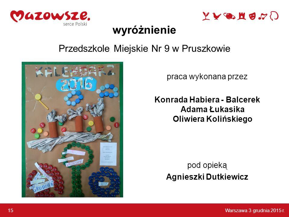 wyróżnienie Przedszkole Miejskie Nr 9 w Pruszkowie