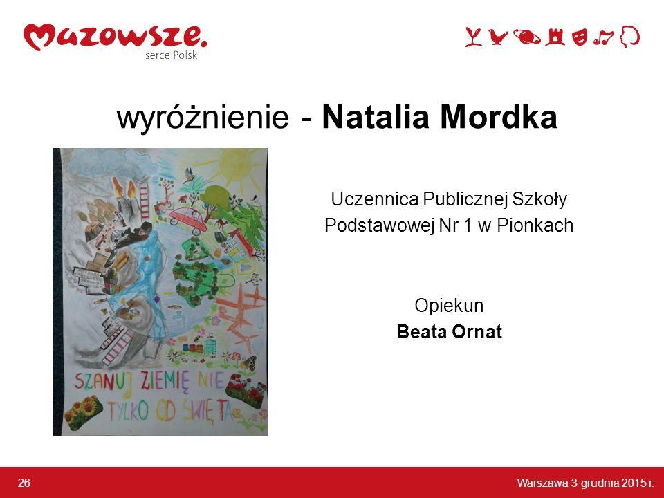 wyróżnienie - Natalia Mordka