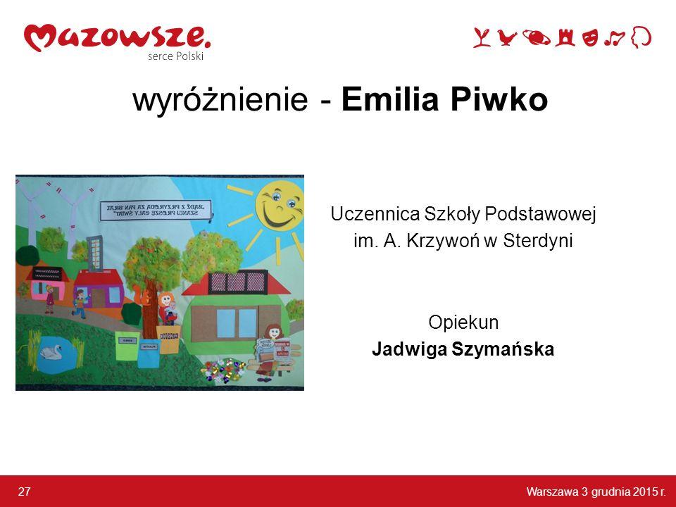 wyróżnienie - Emilia Piwko