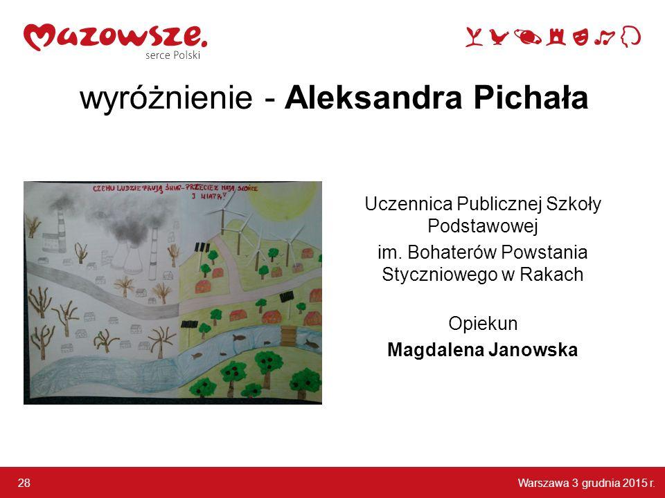 wyróżnienie - Aleksandra Pichała
