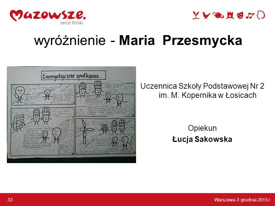 wyróżnienie - Maria Przesmycka