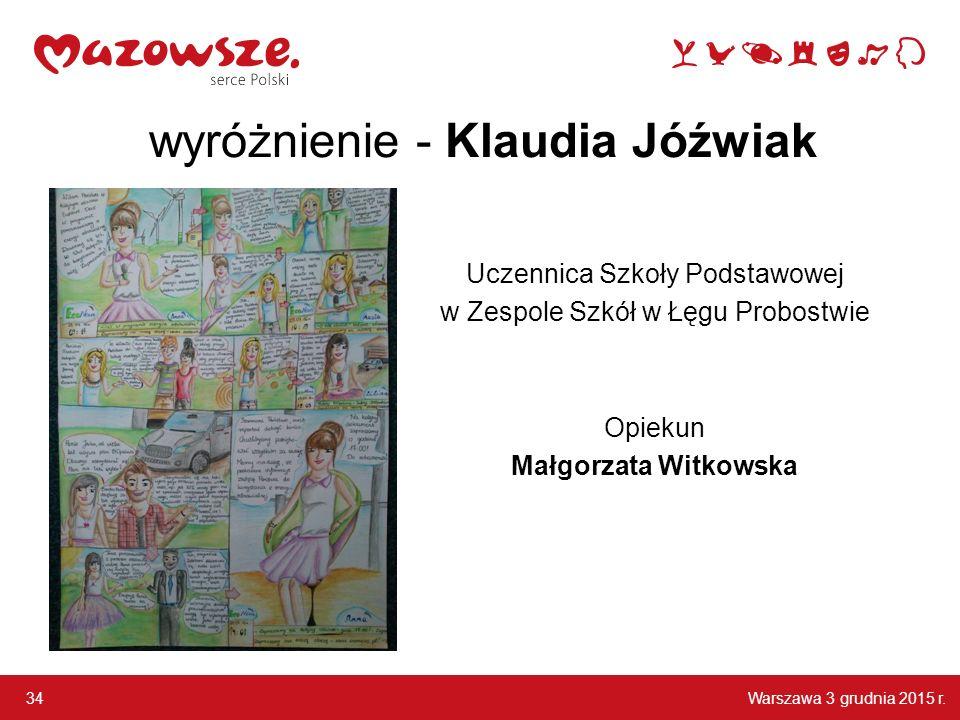wyróżnienie - Klaudia Jóźwiak