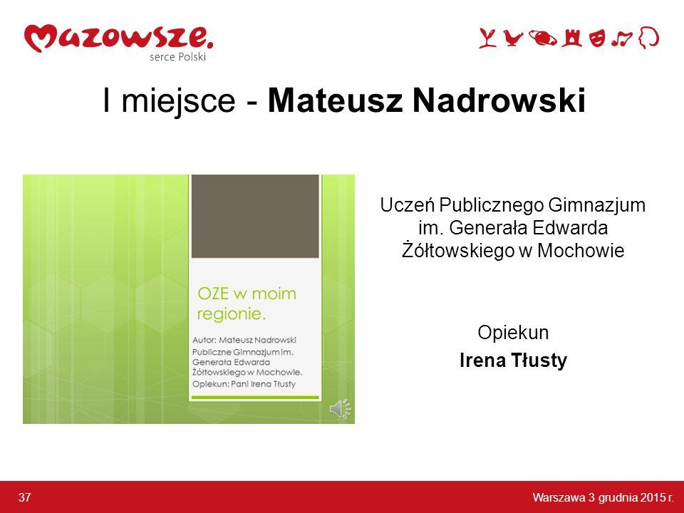 I miejsce - Mateusz Nadrowski