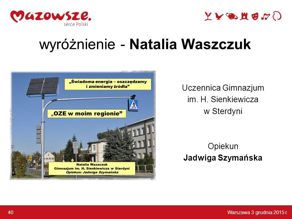 wyróżnienie - Natalia Waszczuk
