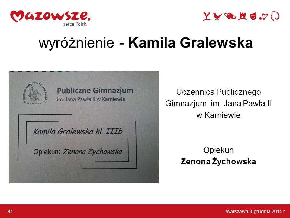 wyróżnienie - Kamila Gralewska
