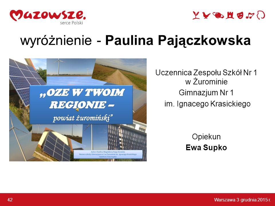 wyróżnienie - Paulina Pajączkowska