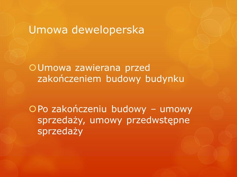 Umowa deweloperska Umowa zawierana przed zakończeniem budowy budynku
