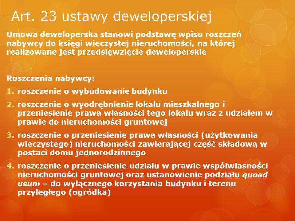 Art. 23 ustawy deweloperskiej