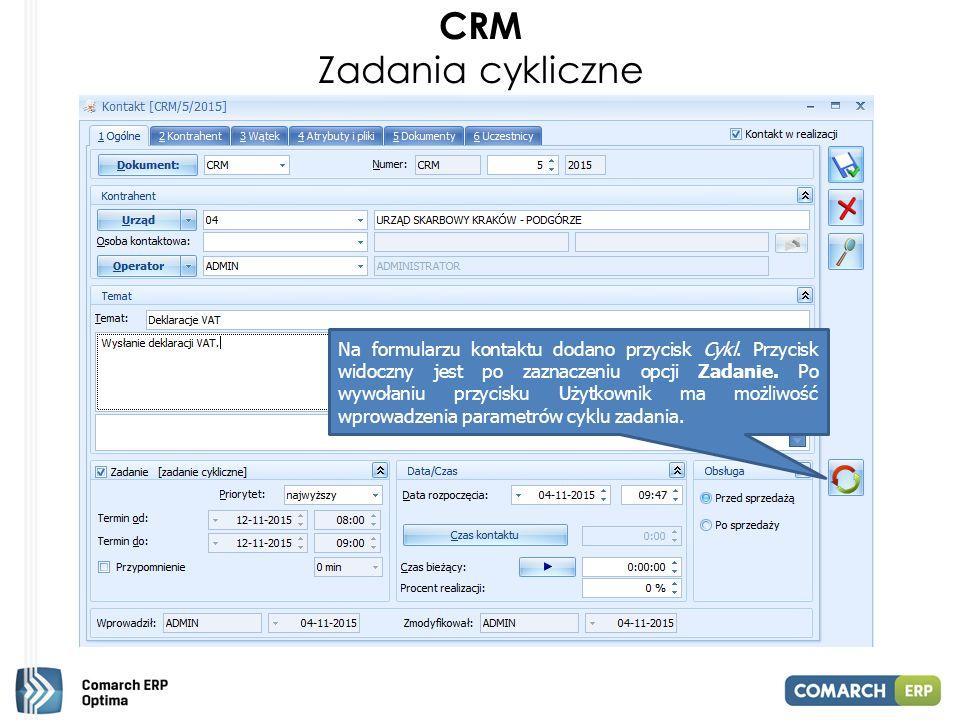 CRM Zadania cykliczne