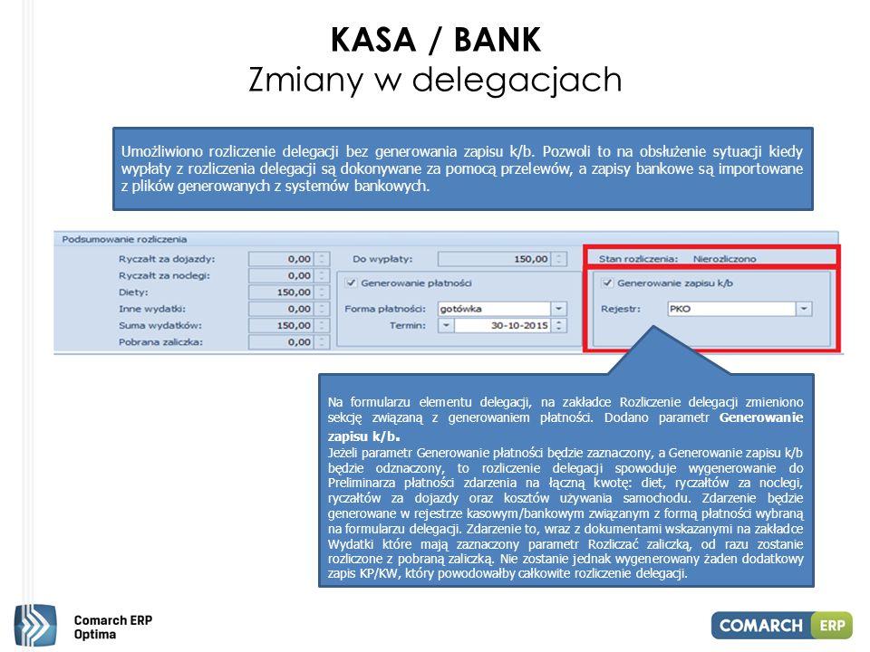 KASA / BANK Zmiany w delegacjach