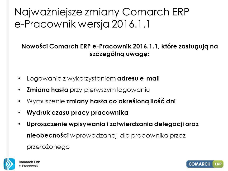 Najważniejsze zmiany Comarch ERP e-Pracownik wersja 2016.1.1