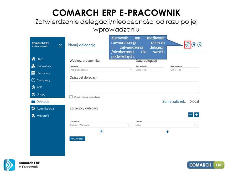 Comarch ERP E-PRACOWNIK Zatwierdzanie delegacji/nieobecności od razu po jej wprowadzeniu