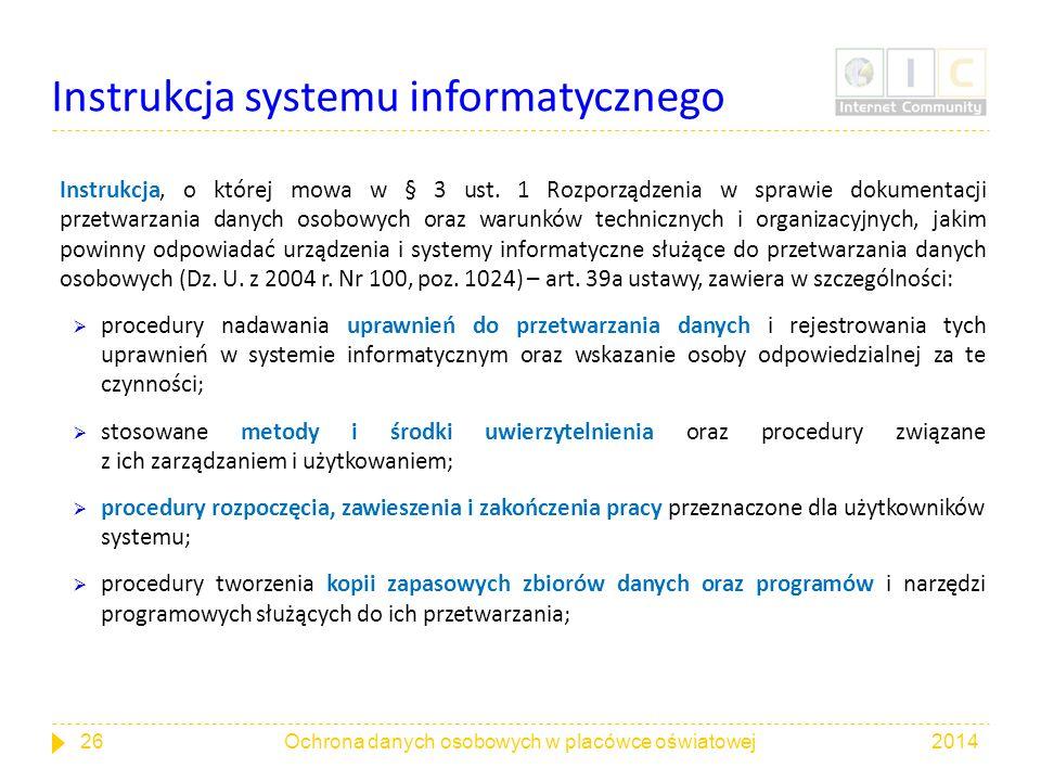 Instrukcja systemu informatycznego