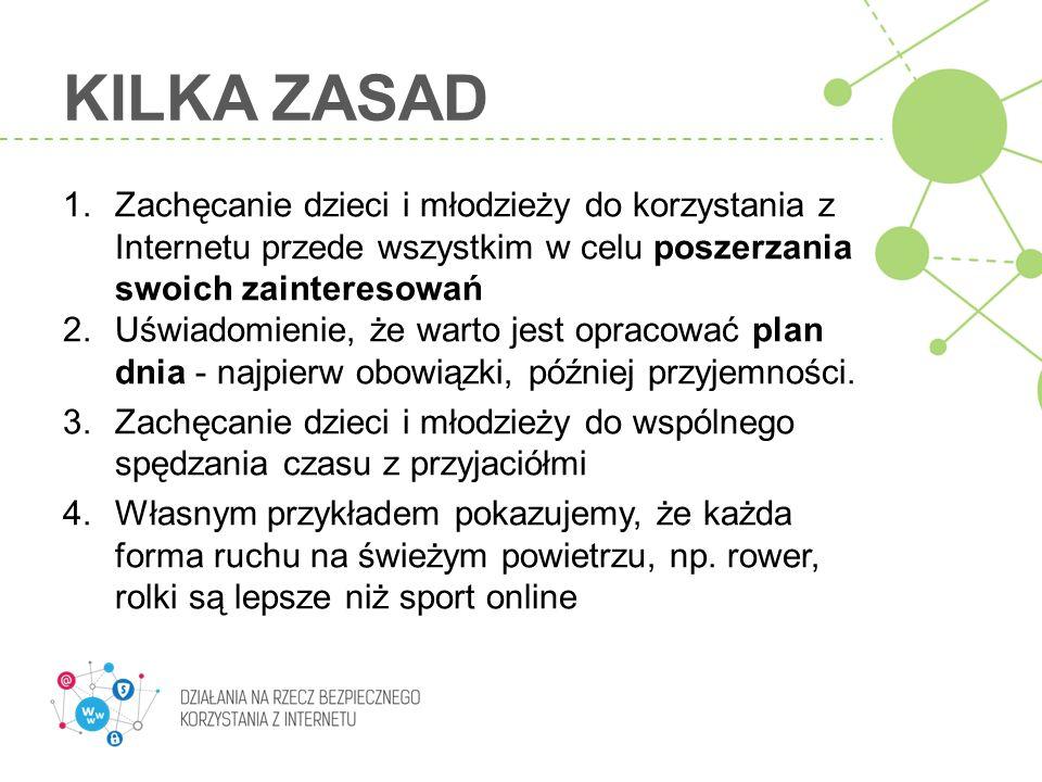 KILKA ZASAD Zachęcanie dzieci i młodzieży do korzystania z Internetu przede wszystkim w celu poszerzania swoich zainteresowań.