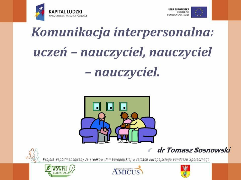 Komunikacja interpersonalna: uczeń – nauczyciel, nauczyciel