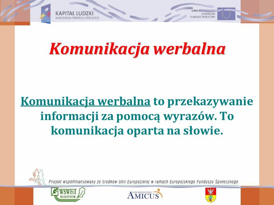 Komunikacja werbalna Komunikacja werbalna to przekazywanie informacji za pomocą wyrazów.